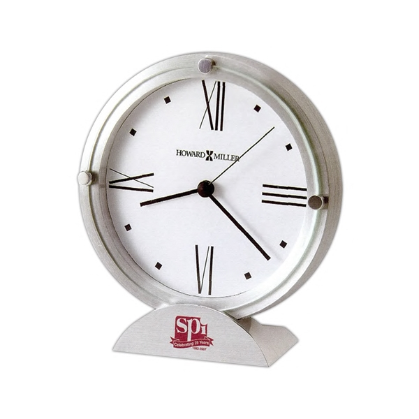 Simon Ii - Brushed Aluminum Clock Features A Flat Glass Crystal Photo