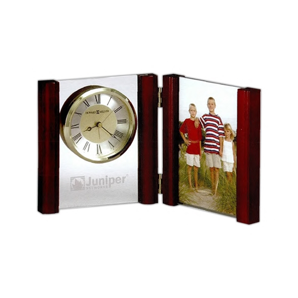 Alex - Hinged Wood, Glass Alarm Clock And Frame With Rosewood Finished Side Columns Photo