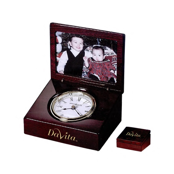 Hayden - High-gloss Rosewood Hall Finished Box Clock With Room For Photo On One Side Photo
