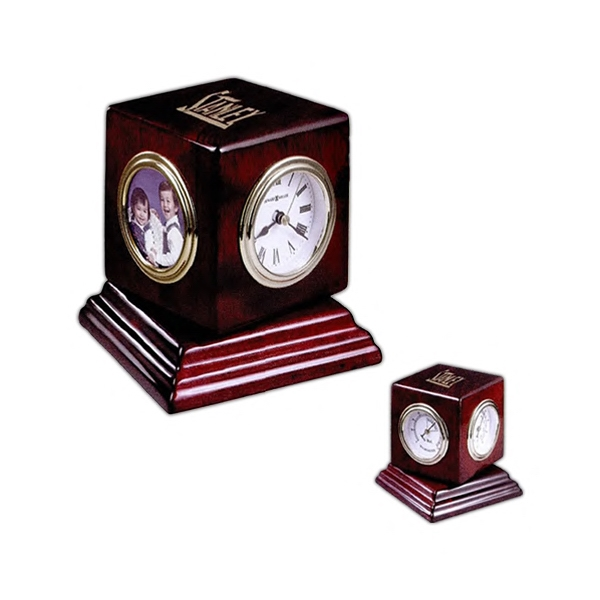 Reuben - Clock Spins To Display A Hygrometer, Thermometer, And Picture Frame Photo