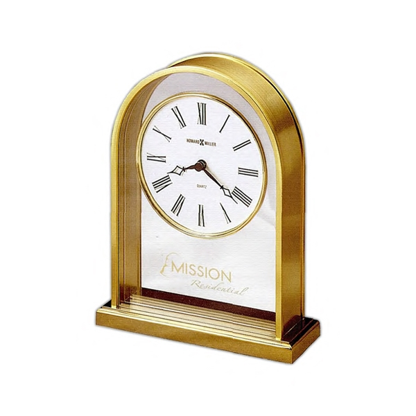 Reminisce - Refined, Brass-finished Arch Clock With Polished Brass-finished Edges And Base Photo