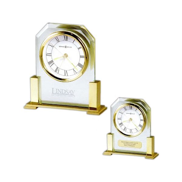 Paramount - Polished Solid Brass-finished And Beveled Glass Alarm Clock Photo