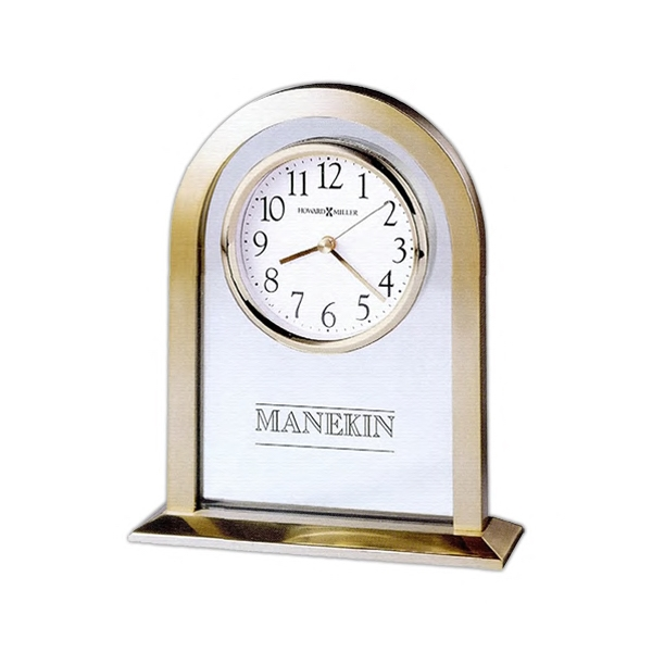 Imperial - Brushed And Polished Brass-tone Metal Arch Clock With A Glass Center Panel Photo