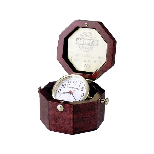 Chronometer - Brass Captain's Clock Housed In A Felt-lined Rosewood Finished Octagonal Chest Photo