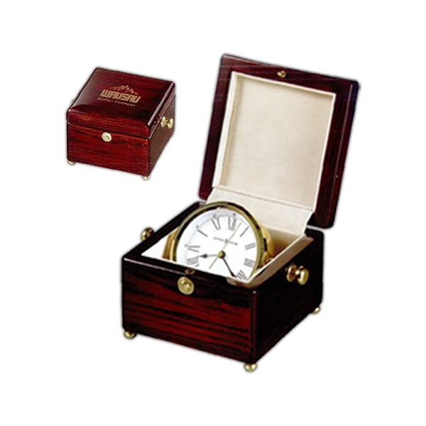 Bailey - Clock In High Gloss Rosewood Finished Box Lined In Velvet, Features Brass Feet Photo