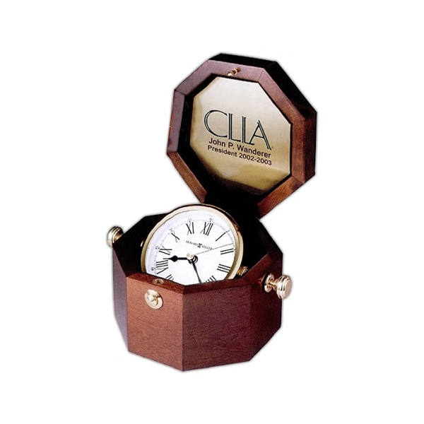 Oceana - Polished Brass Gimbaled Captain's Clock Housed In A Felt Lined Octagonal Chest Photo