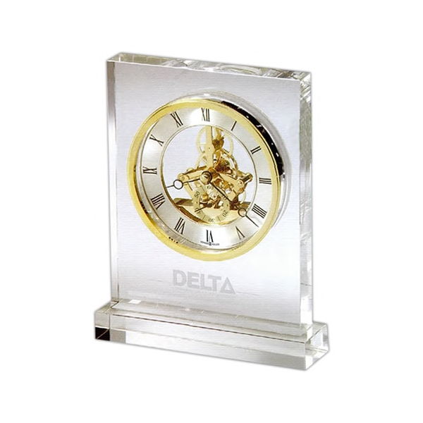 Prestige - Rectangular Glass Crystal Tabletop Clock, Made With Heavy Non-lead Glass Base Photo