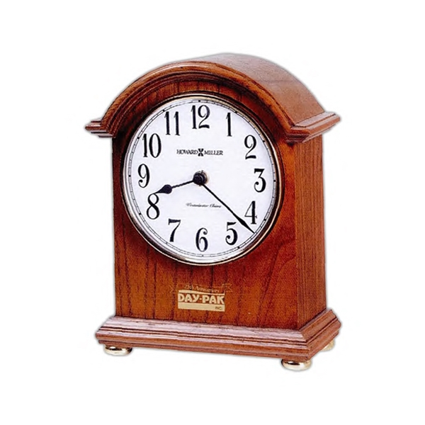 Myra - Arched Mantle Clock Features A Top Molding, Polished Brass Bezel And Brass Bun Feet Photo