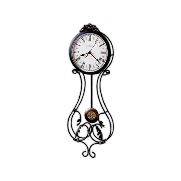Paulina - Wrought Iron Wall Clock With Decorative Leaves And A Cast Crown Photo