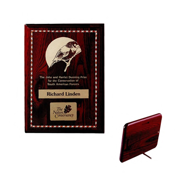 "Commemorative Plaque Iv - Rosewood Plaque With Profiled Edge And Decorative Marquetry, 10"" X 8"" X 1"" Photo"