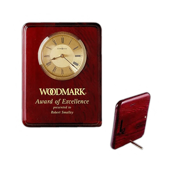 Honor Time I - High-gloss Rosewood Finish Plaque With Clock Photo