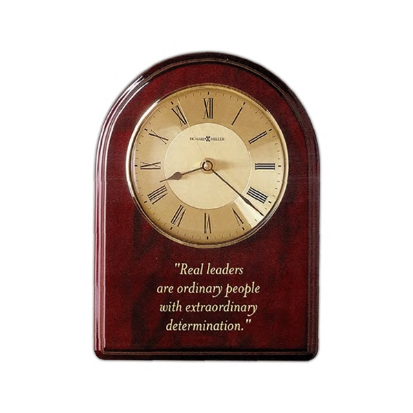 Honor Time Iii - Clock Plaque With High Gloss Rosewood Finish With Arched Top And Profiled Edge Photo