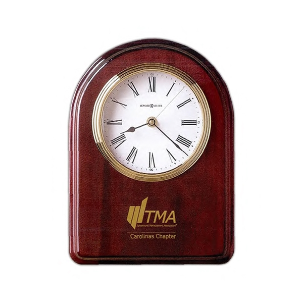 Honor Time Iv - Rosewood Finish Clock Plaque With White Dial And Polished Brass Bezel Photo