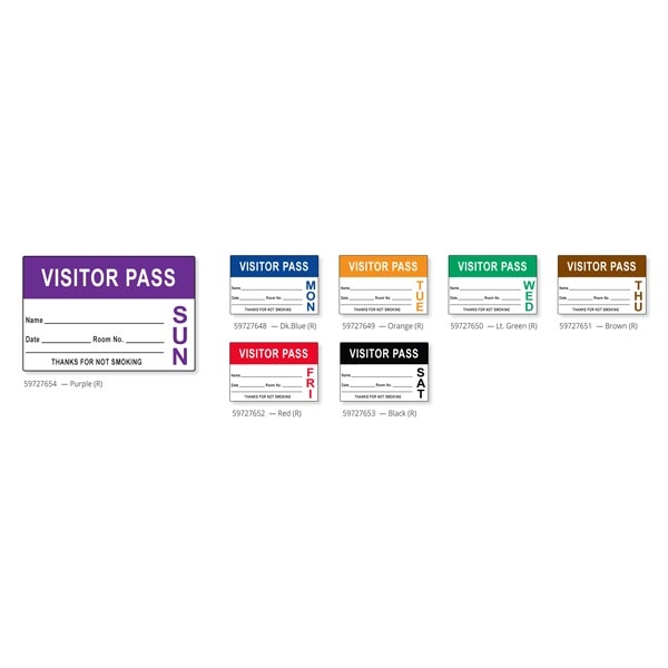 Visitor Pass with Pre-printed Day of the Week Label Badges