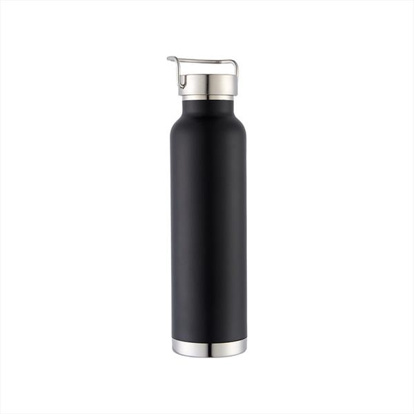 Insulated vacuum stainless water bottle with b bamboo lid