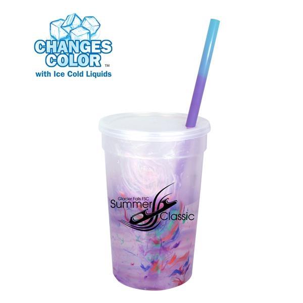 22 oz. Rainbow Confetti Mood Cup/Straw/Lid Set