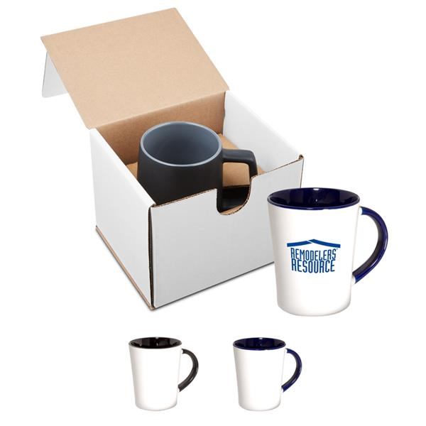 12 oz. Two-Tone Curve Ceramic Mug in Individual Mailer