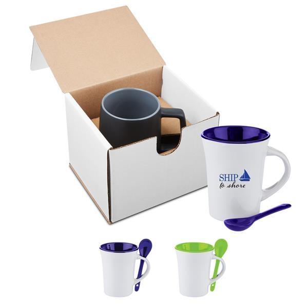 10 oz. Two-Tone Ceramic Mug with Matching Spoon in Individua