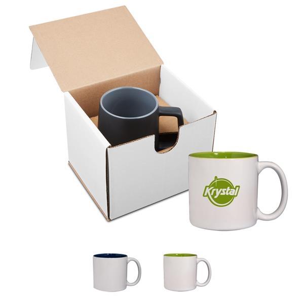 14 oz. Glossy Jamocha Ceramic Mug in Individual Mailer