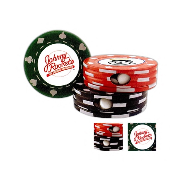 Poker Chip Shape Tin In Red, Black, Or Green, Filled With Chocolate Flavored Mints Photo