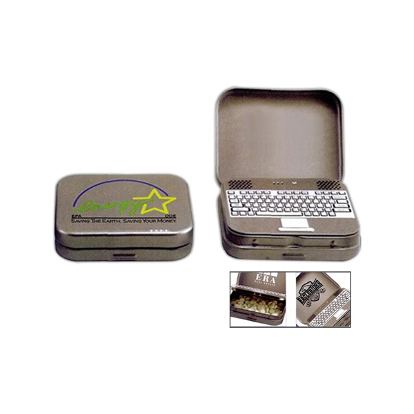 Laptop Mint Tin In Silver Filled With Small Peppermints Or Cinnamon Flavored Mints Photo