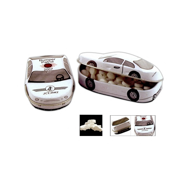 Car Shaped Tin In White Filled With Small Peppermints Or Cinnamon Flavored Mints Photo