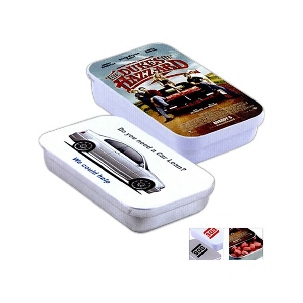 Pocket Size Tin With Easy Slide Opening Filled With Chocolate Flavored Mints Photo