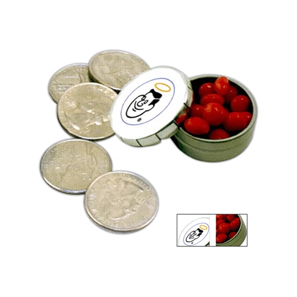 Miniature Tin In Silver With Snap Top Filled With Red Hots Candy Photo