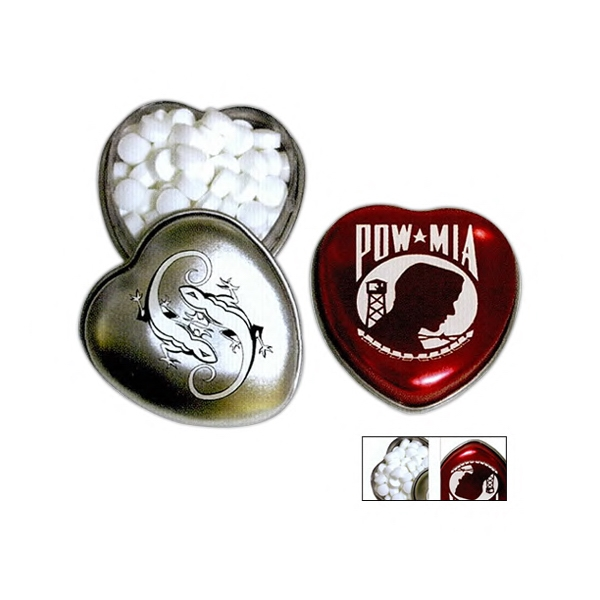 Pocket Size Heart Shaped Tin In Silver Or Red Filled With Green Tea Mints Photo