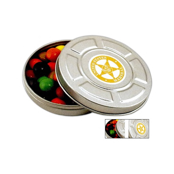 Pocket Size Mini Movie Reel Tin In Silver Filled With Jelly Beans Photo