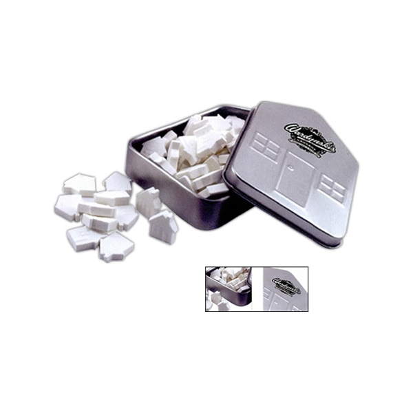 Small House Shaped Tin In Silver Filled With Chocolate Flavored Mints Photo