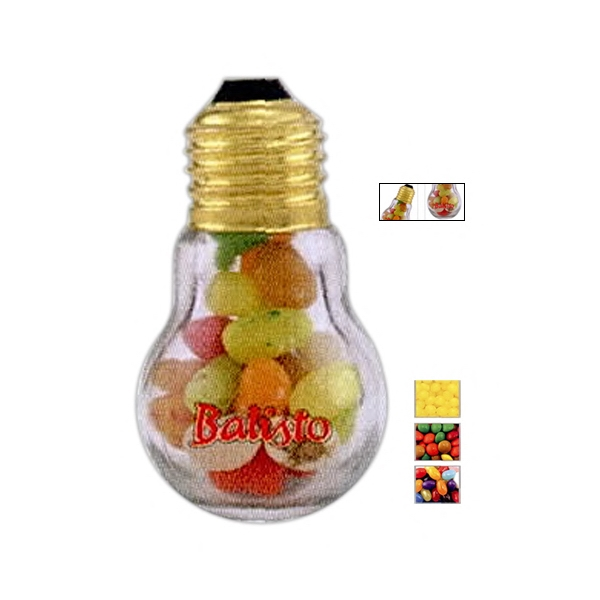 Miniature Light Bulb Clear Glass Container Filled With Lemon Heads Candy Photo