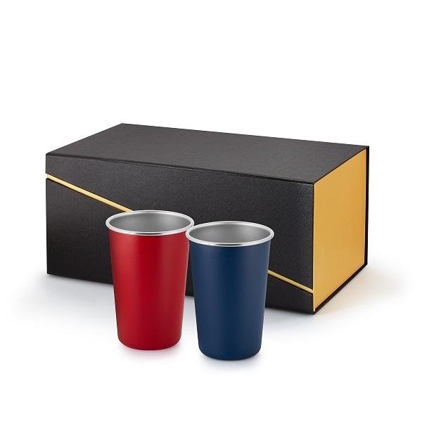 Two 16 oz single wall pint tumblers in Black & Gold Gift Box