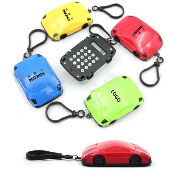 Plastic Car Shape Mini Portable Calculator Keychain