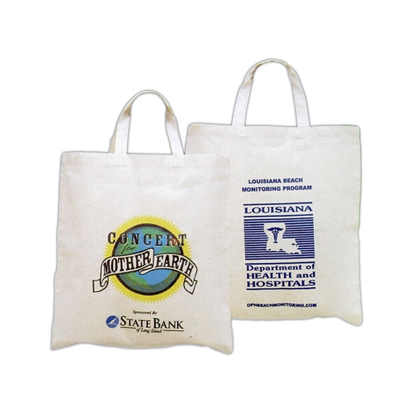 "Cotton Natural Color Tote Bag With Short Handles, 1"" Wide X 16"" Overall Length Photo"