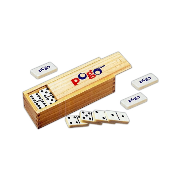 Double Six Domino Set With 28 Pieces In Wooden Box With Sliding Cover Photo