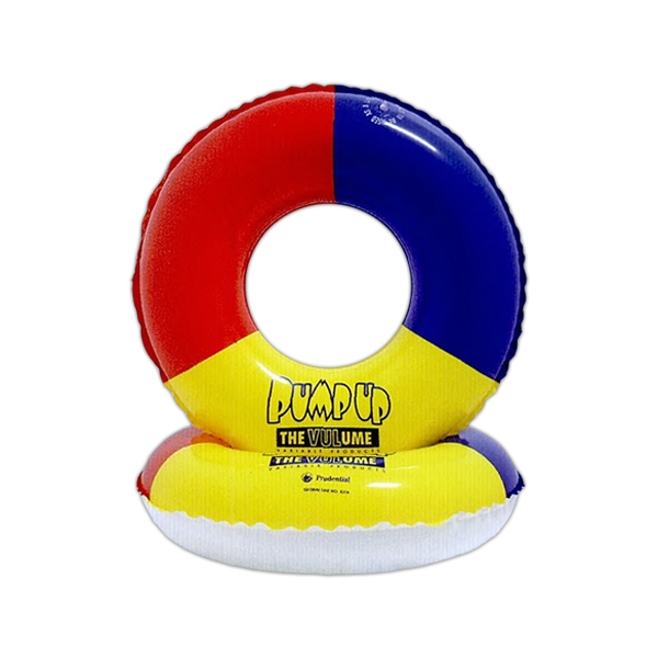 Heavy Vinyl Inflatable Swim Ring, Multicolor On One Side, White On Reverse Photo