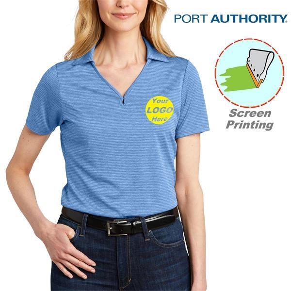 Port Authority Ladies Shadow Stripe Polo w/ Screen Print