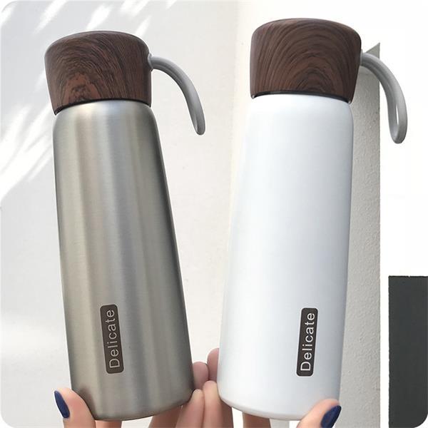 17 OZ. Stainless Steel Vacuum Cup with Wood Grain Lid