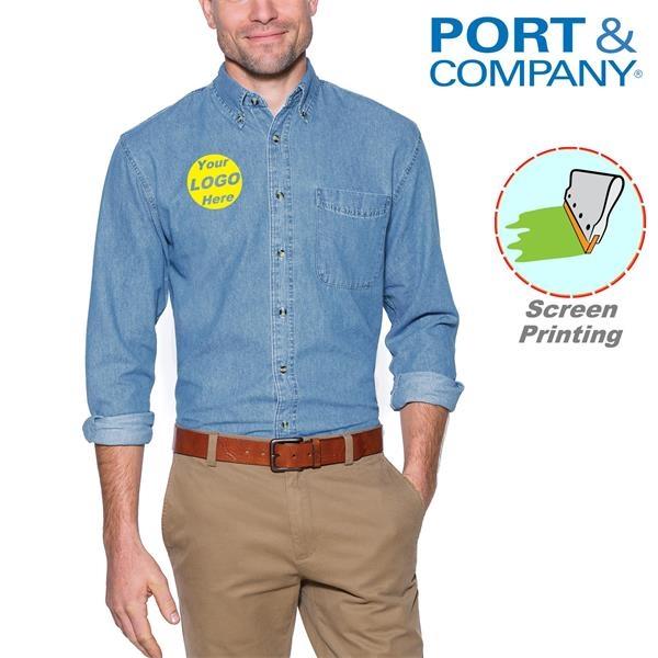 Port & Company Long Sleeve Value Denim Shirts w/ 6.5 oz.