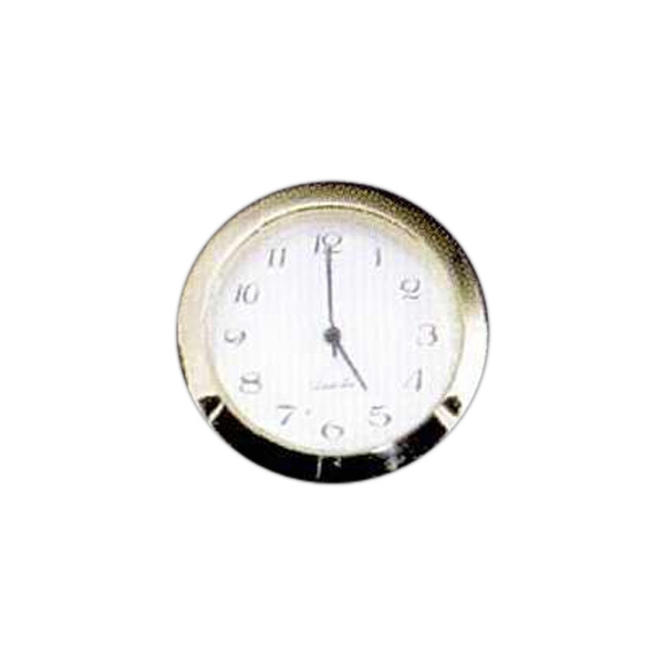 Blank Goods. Clock With Gold Bezel And White Arabic Dial Photo