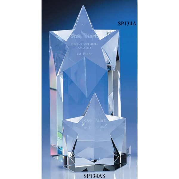 "Superstar - 4"" X 2 3/8"" X 8"" - Optic Crystal Star Shape Tower Award With Slanted Top Photo"