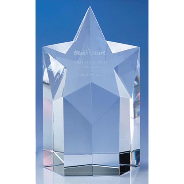 "Superstar - 3 5/8"" X 2 3/8"" X 5 3/4"" - Optic Crystal Star Shape Tower Award With Slanted Top Photo"