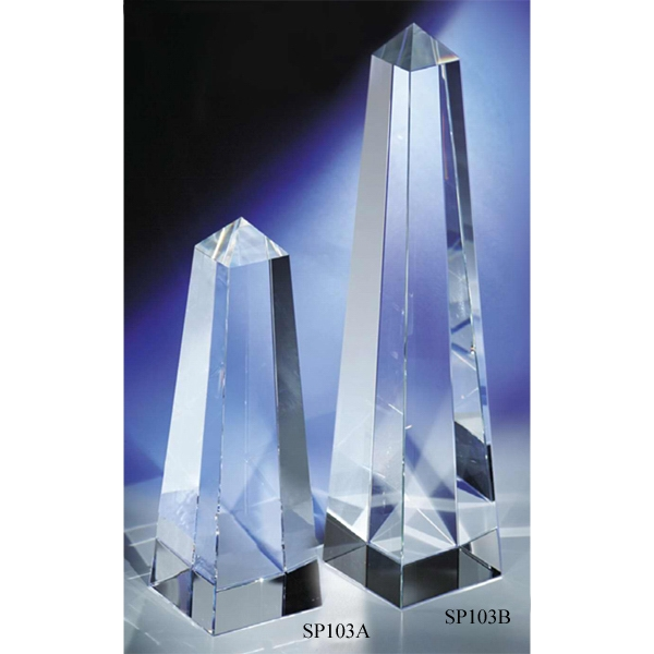 "2 3/8"" X 2 3/8"" X 10"" - An ""obelisk"" Crystal Award By Crystal World. Sp103 Photo"