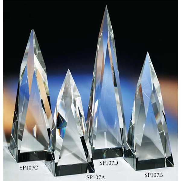 "Pinnacle - 2 3/4"" X 2 3/4"" X 10"" - Pinnacle Crystal Award By Crystal World. Sp107 Photo"
