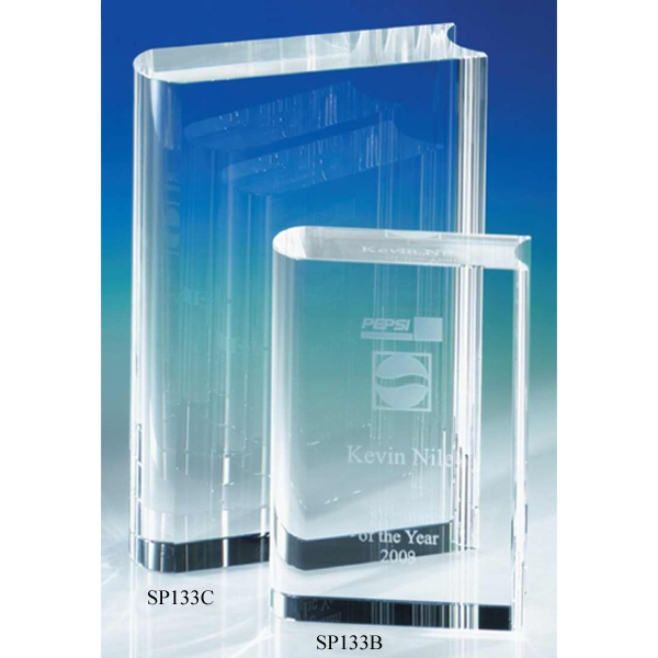"Crystal Book - 3 1/2"" X 1 1/4"" X 5"" - Crystal Book - 4"" Crystal Award By Crystal World Photo"