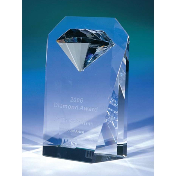 Vanguard - Optical Crystal Vanguard Award With Diamond Shape In Award Photo