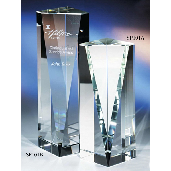 "Excellence - 3 1/8"" X 3 1/8"" X 5"" - E X Cellence Crystal Award By Crystal World With Slanted Front Photo"