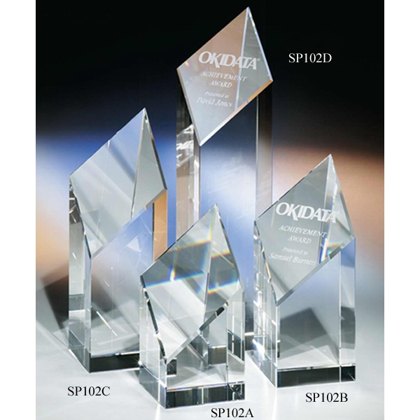 "Triumph - 3 1/4"" X 3 1/4"" X 7"" - Triumph Crystal Award By Crystal World With Slanted Diamond-shaped Front Photo"