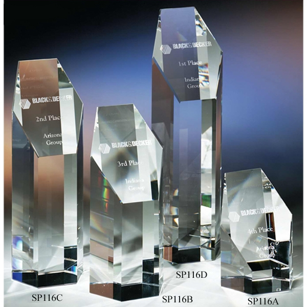 "President - 2 1/2"" X 2 1/8"" X 6 3/4"" - The ""prestige"" Crystal Hexagonal- Shaped Award By Crystal World. Sp116 Photo"